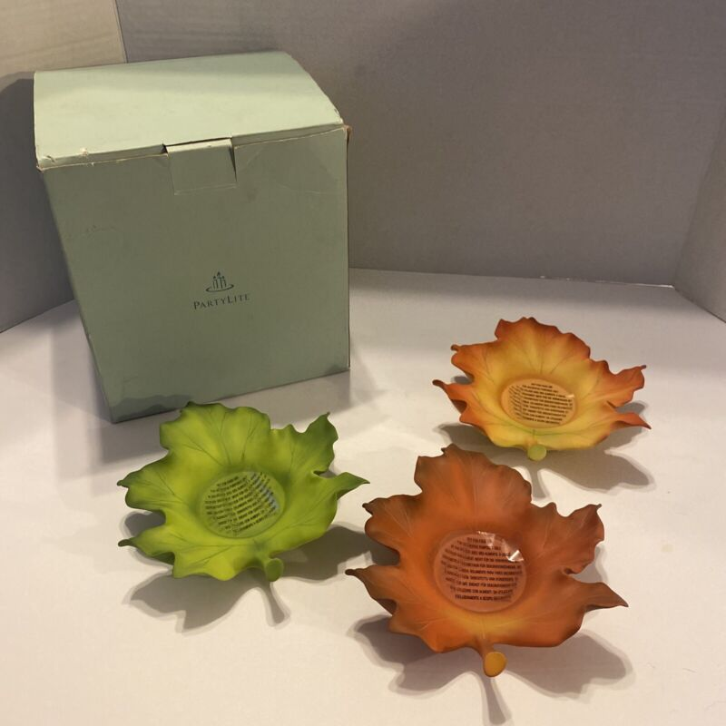 PartyLite Whispering Leaves Candle Holders Fall Autumn P7597 Maple Leaf NIB
