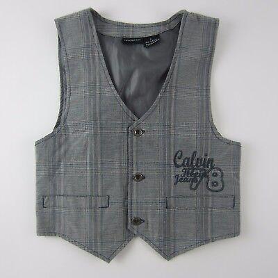 Calvin Klein Jeans Boys Vest Size 6 Blue Grey Plaid Adjustable Back