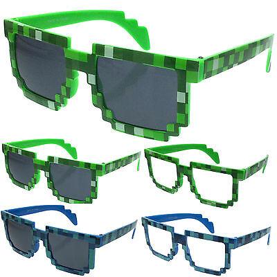Block Sunglasses Pixelated 8-Bit Party Favor Costume Accessories Nerd Glasses - Nerd Costume Accessories