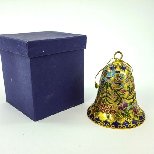 "Gold Metal Bell Ornament w/ Colorful Enamel Inlay Leaf Scroll Pattern 3"" Figure"