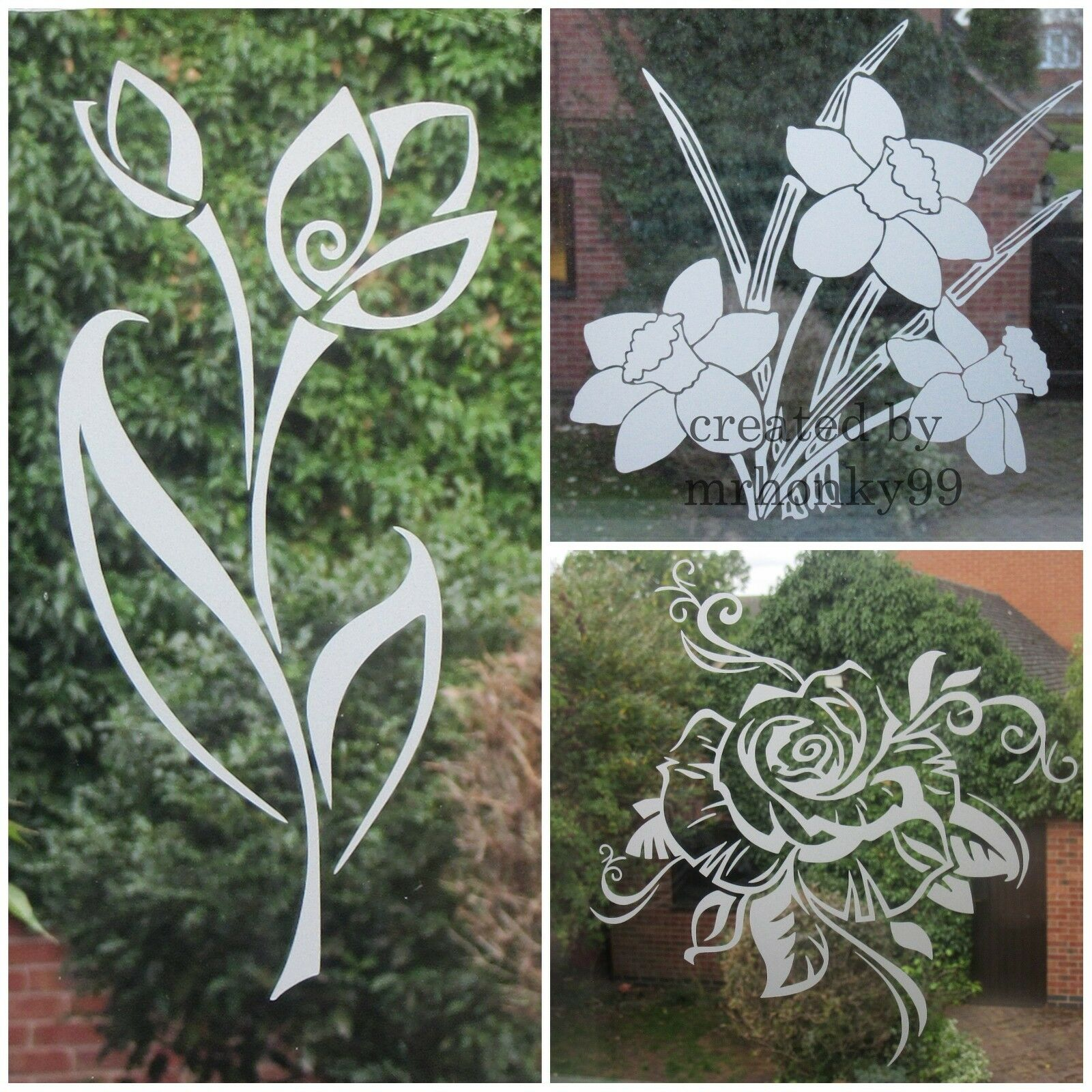 Home Decoration - FROSTED,ETCHED FLOWER STICKERS, DECAL FOR PATIO DOOR/WINDOWS, SHOWERS, MIRRORS