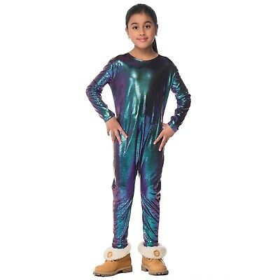 Child Iridescent Dragon Alien Fish Halloween Costume Blue Jumpsuit Boys Girls](Alien Girl Costumes)