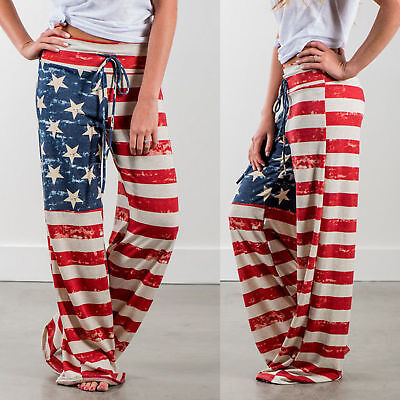 New Ladies' AMERICAN FLAG PRINT Casual Loose Trousers - Medium - USA Seller Usa Flag Print
