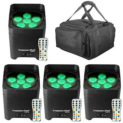 Chauvet DJ Freedom Par Tri-6 D-Fi Wireless RGB LED Pars Lights + Carry Bag