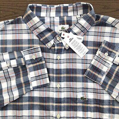NEW Lacoste Men's Size 4XLT Tall Long Sleeve Plaid Button Shirt Woven $155