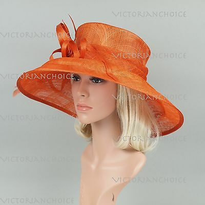 "5 1/2"" Wide Brim Sinamay Kentucky Derby Wedding Church Downton Abbey Dress Hat"