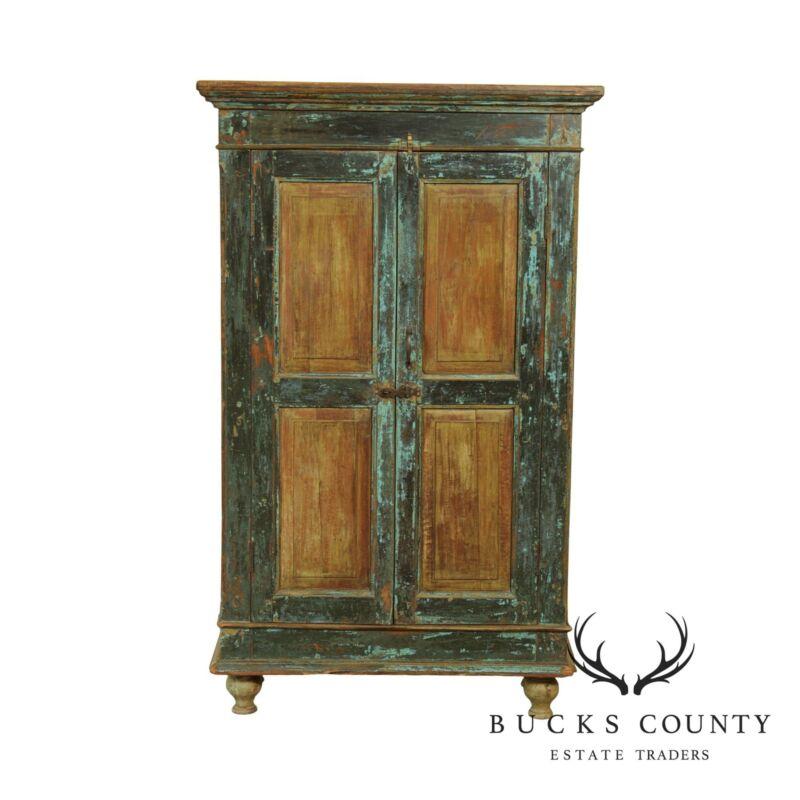 Primitive Distressed Painted 2 Door Cupboard