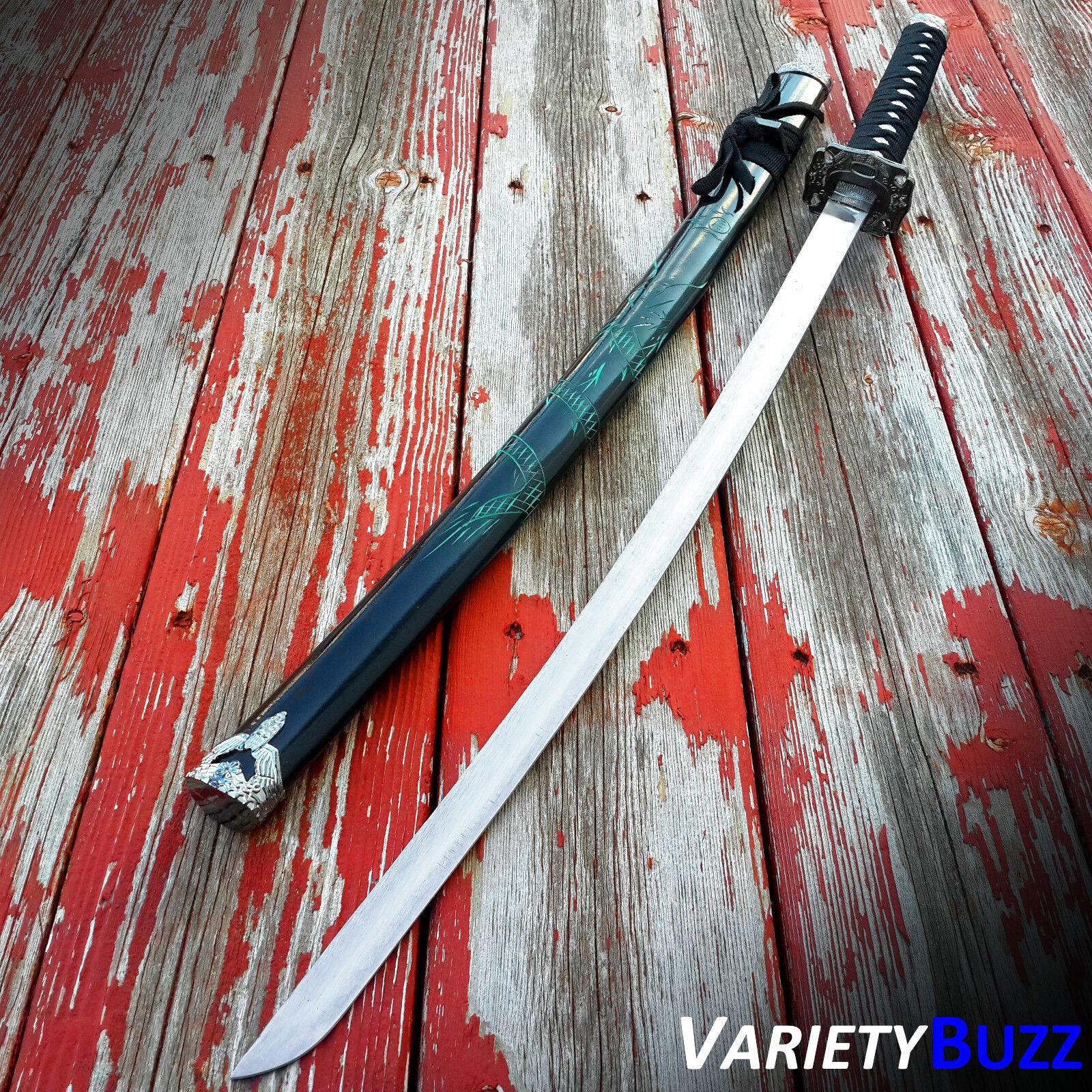 GREEN DRAGON SAMURAI SWORD Black Japanese Ninja Bushido KATANA Fixed Blade NEW!!