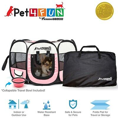 "Pet4Fun PN935 Easy Set Up Water Resistant Pet Playpen 29""  for Dog or Cat PINK"