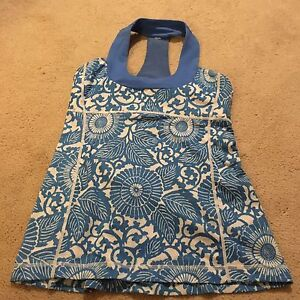 Lululemon Blue and White Tank Top Size 6
