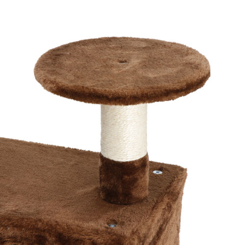53″ Sturdy Cat Tree Tower Kitty Multilevel w/Padded Viewing Perch Brown Cat Supplies