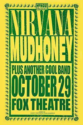 Grunge: Kurt Cobain & Nirvana with Mudhoney at  Fox Theatre Concert Poster 1991