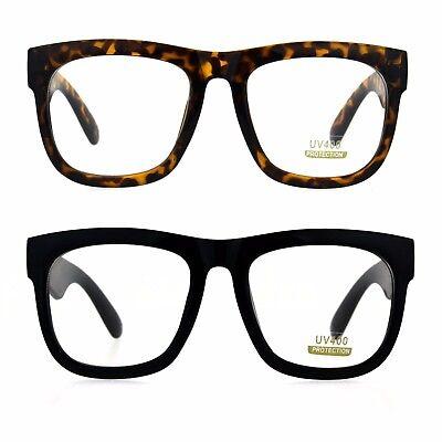 Mens Thick Plastic Horn Rim Rectangular Geek Eye (Thick Rimmed Glasses Hipster)