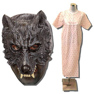 Oma Wolf Kostüm (Böser Wolf hat Oma gefressen→MASKE Großmutter Verkleidung Wolfs Halloween Kostüm)
