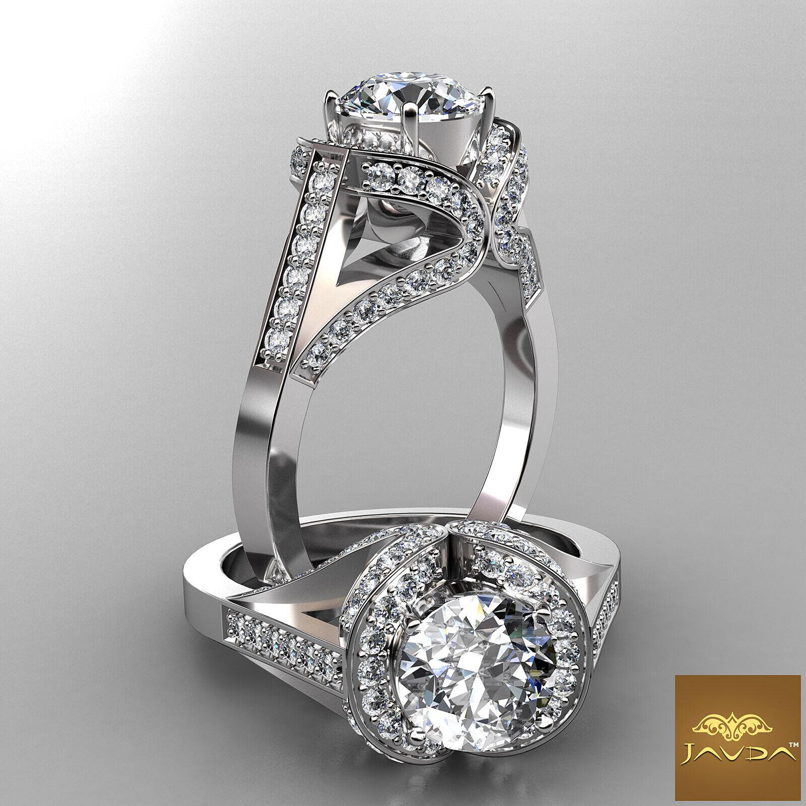 2.7ct Brilliant Cut Round Diamond Engagement Halo Pave Ring GIA F VS2 Platinum