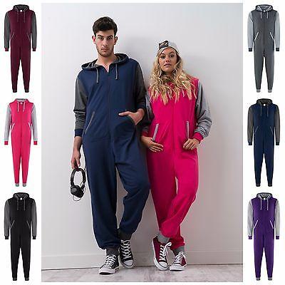 Mens Womens Romper Suit PJs All In One Varsity Pyjama Baseball Hoodie Jumpsuit Pjs Overall