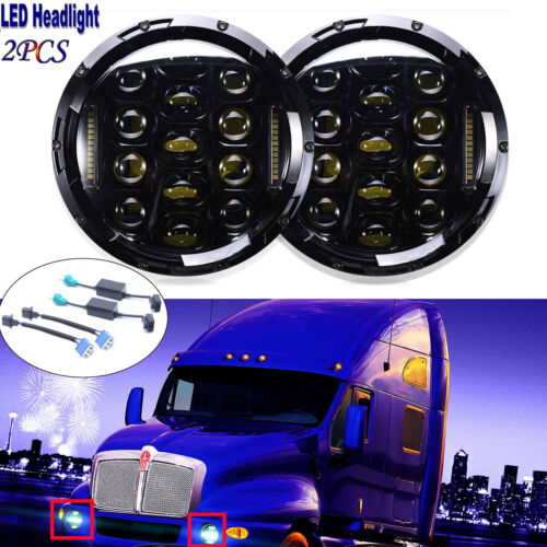 LED Headlights Headlamps w// Halo Angle Eyes for Kenworth T2000 T 2000 1998-2010