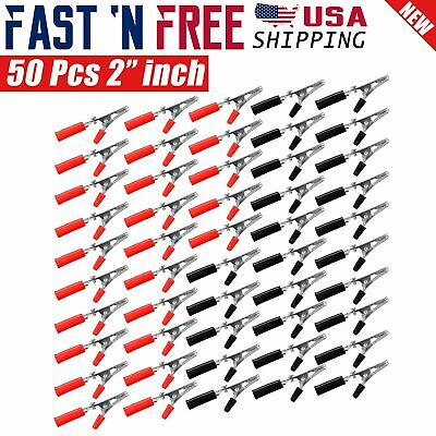 50 Pcs Electrical Test Clamps Metal Alligator Clips With Red Black Handle Bulk