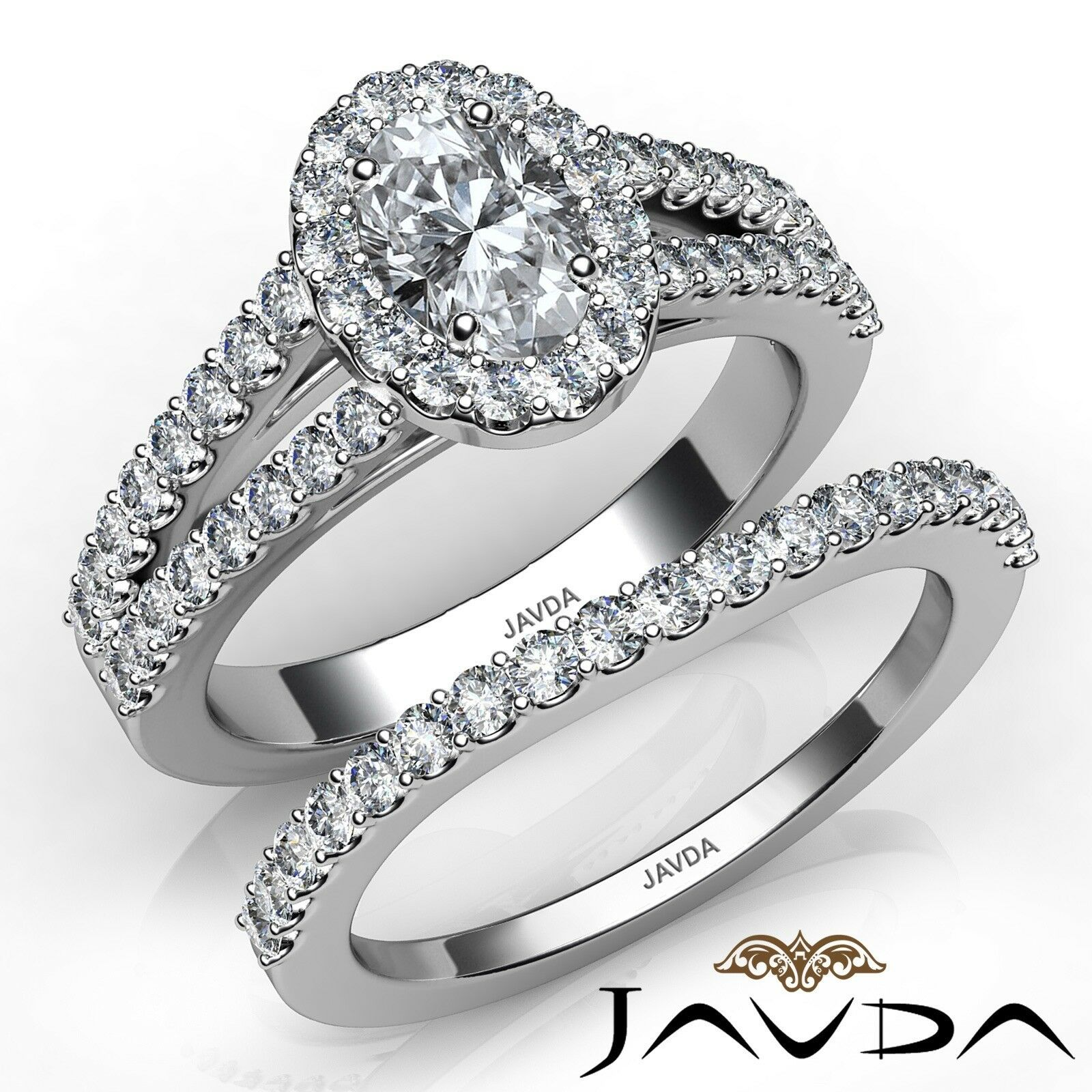 1.75ctw Hand Crafted Wedding Set Oval Diamond Engagement Ring GIA F-VVS2 W Gold
