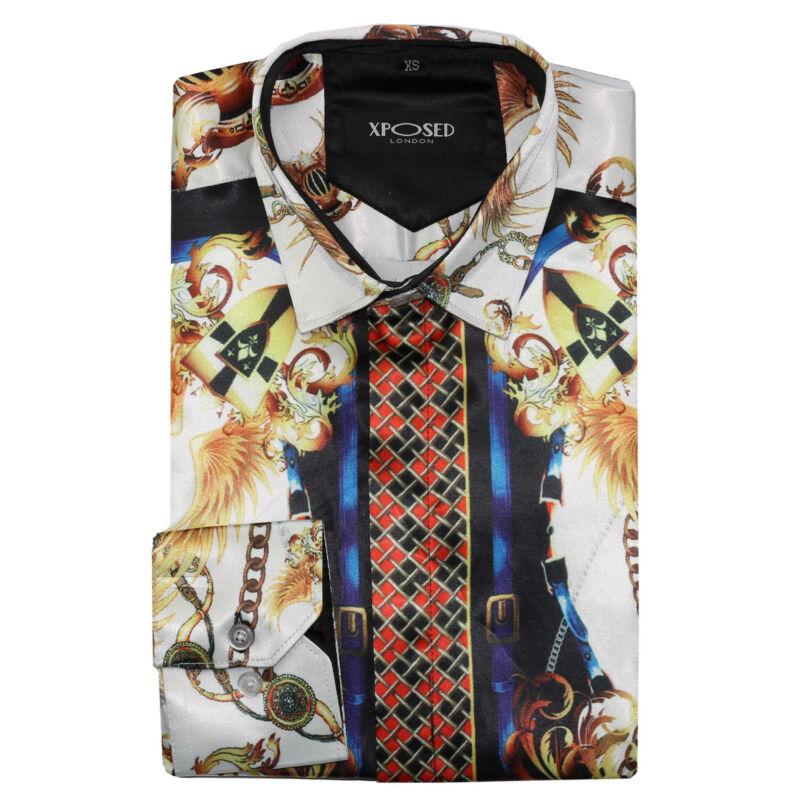 Mens Retro Designer Style Gold White Baroque Print Smart Silky Satin Feel Shirt
