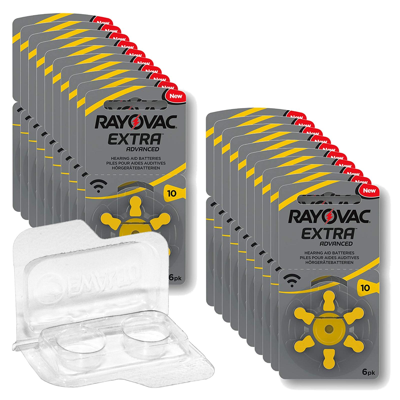 120 Rayovac Extra Advanced Hörgerätebatterien PR70 gelb 10  + Box f. 2 Zellen