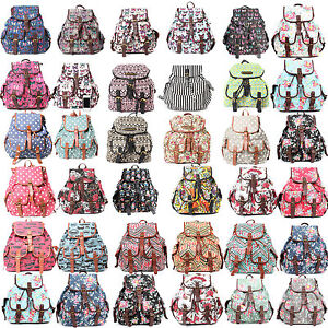 Ladies-Designer-Flower-Skull-Owl-Polka-Dot-Retro-Aztec-Canvas-Rucksack-Backpack