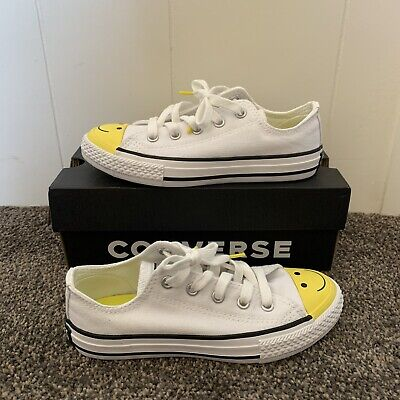 Converse Low Smiley Face White Yellow Kid's Sz 13 (484) New With Box