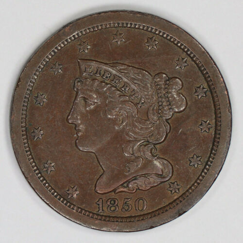 1850 BRAIDED HAIR HALF CENT 1/2C XF EXTRA FINE / AU ABOUT UNCIRCULATED (2154)