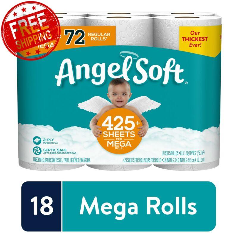 Angel Soft Toilet Paper 18 Mega Rolls Flushable Tissue 72 Regular Rolls 2 ply