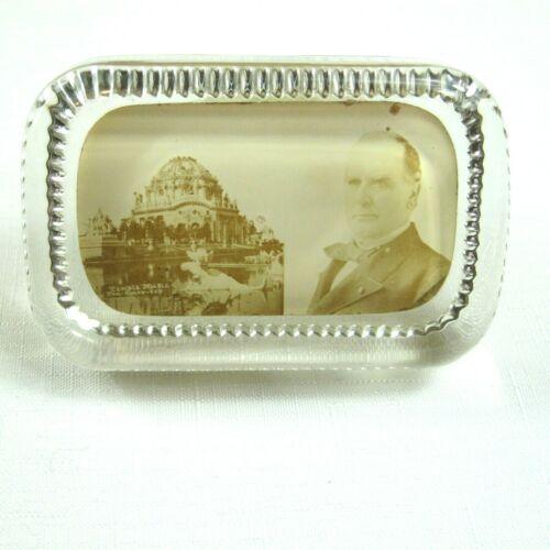 1901 Buffalo Worlds Fair Pan-American Glass Paperweight Wm McKinley Temple Music