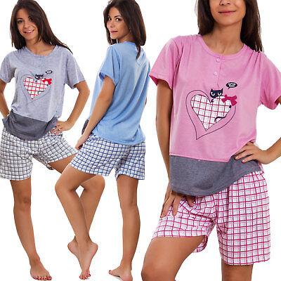 Schlafanzug Frau Unterwäsche Shorts Katze Kader Nacht Baumwolle - Frau Katze Anzug
