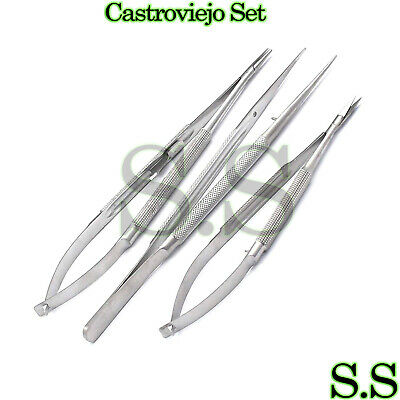 3 Pieces Castroviejo Micro Surgery Scissorsneedle Holder Suture Tying Ey-006