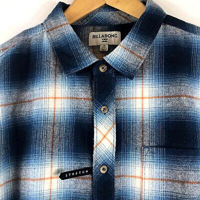 Billabong Mens M Coastline LS Shirt Flannel Wave Washed Blue Size Medium $59.95