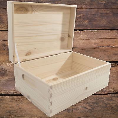 Medium Rectangular Wooden Storage Box With Lid And Handles To Decorate Craft DIY