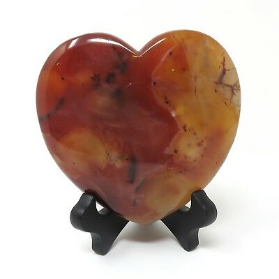 703g LARGE Red Agate Stone Heart 4.625 x 4.875 inches - Has Flaws Stand Included
