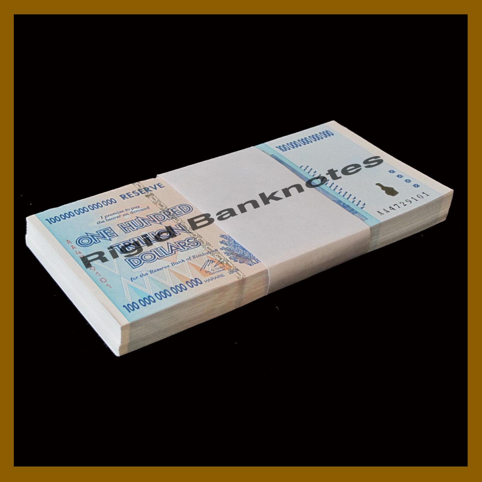 Zimbabwe 100 Trillion Dollars x 100 Pcs Bundle, 2008 AA P-91 Unc
