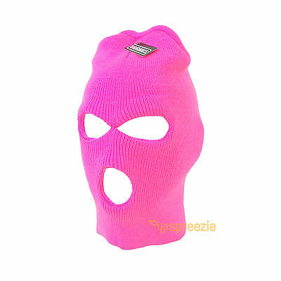 Pink Ski Mask Beanie 3 Hole Knitted Cap Hat Warm Face Winter Snow Mens Womens