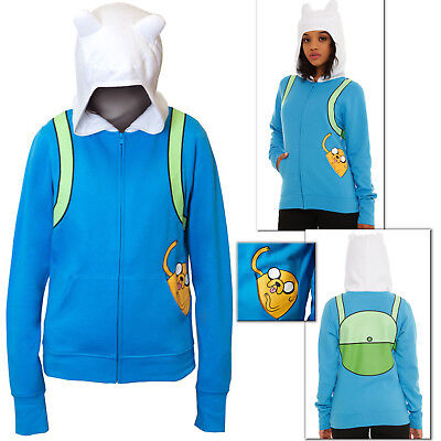 Jake in Pocket Hoodie Adventure Time Finn Jakes Halloween Costume Juniors Girls (Finn Jake Costume)