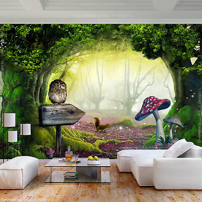 VLIES FOTOTAPETE Wald Fantasy mehrfarbig Pilz TAPETE Kinderzimmer WANDBILDER XXL
