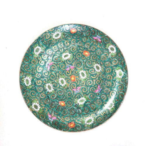 """Vintage Hand Painted Chinese Porcelain Plate Green Butterfly 10"""""""