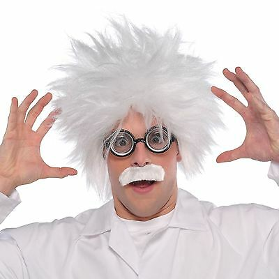 Adults Mad Scientist Costume Accessory Kit Wig Moustache Gla