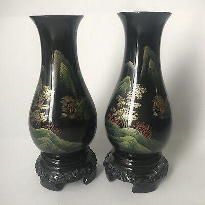 Pair of Black Hand Painted Asian Oriental Vases - Plastic Lacquer Decor 7