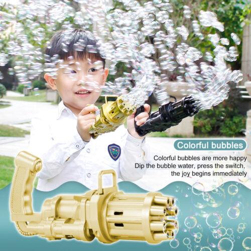 Gatling Bubble Machine Bubbler Maker Safe Summer Cooling Fan Gun For Kid Outdoor Bubble Toys