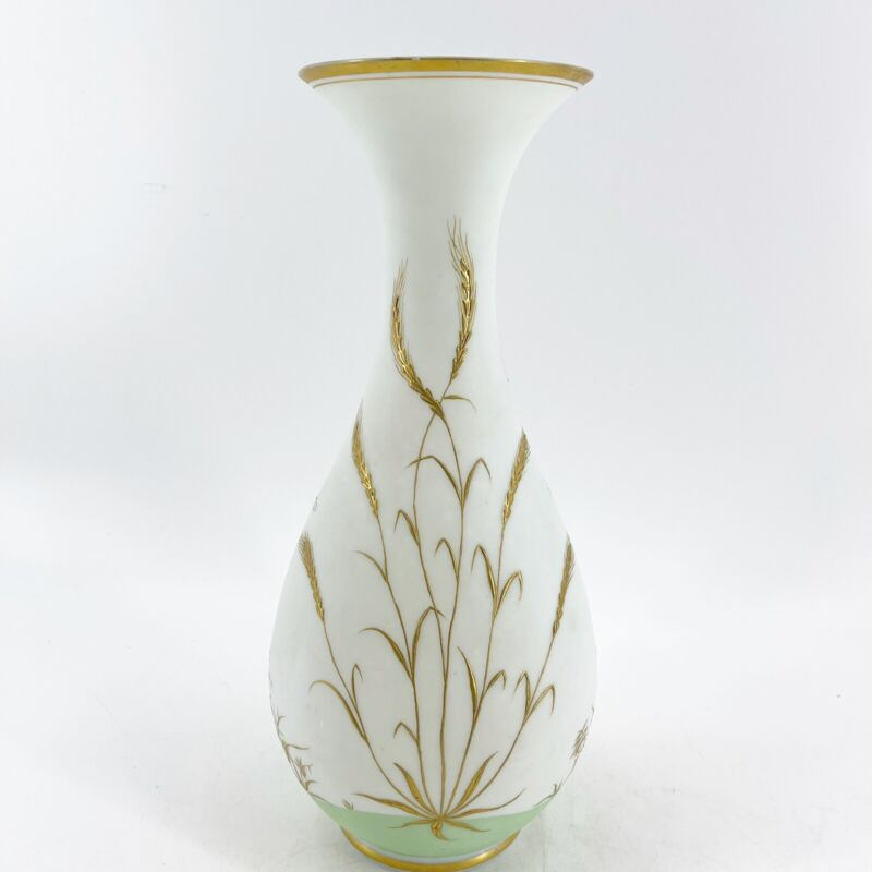 """Vintage Satin Glass Hand Painted Tall Vase Gold & White Victorian Style 13.5"""""""