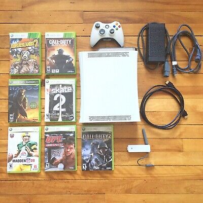 Xbox 360 120GB GREAT SHAPE! + 7 Games, One Controller, Cords, Wifi Plug