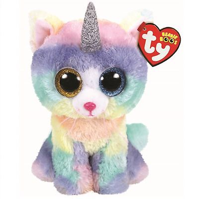 "2018 Ty Beanie Boos 6"" HEATHER Unicorn Cat Stuffed Animal Plush w/ Ty Heart Tags"