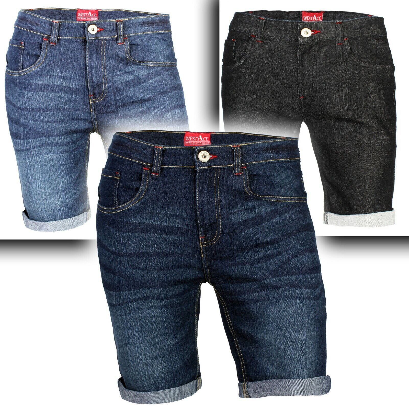 Men's Denim Shorts Slim Fit Stretch Chino Flat Front Jeans Half Pants Clothing, Shoes & Accessories