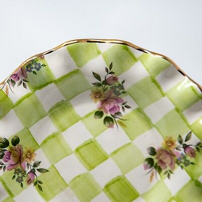 """HTF MacKenzie Childs - Honeymoon Sweet Pea Green Luncheon Plate - 9"""""""
