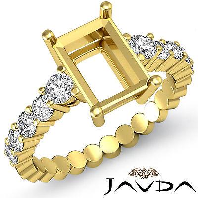 Emerald Semi Mount Ring - Diamond Engagement Emerald Semi Mount Shared Prong Ring 18k Yellow Gold 0.70Ct