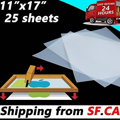 25 Sheets11x 17screen Printing Waterproof Instant Dry Inkjet Transparency Film